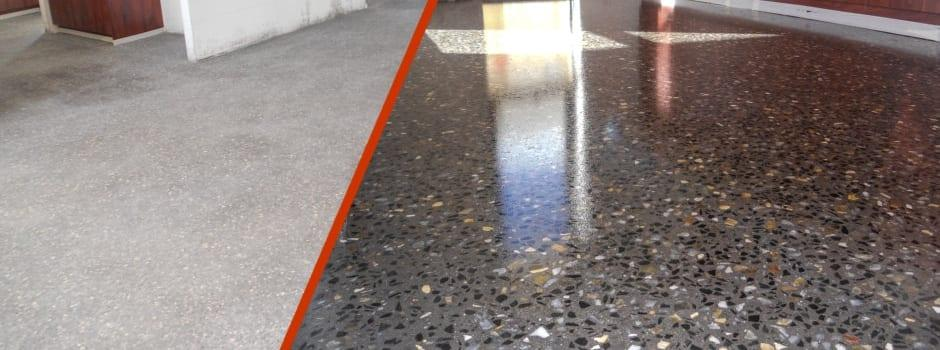 A floor after concrete grinding services were performed.