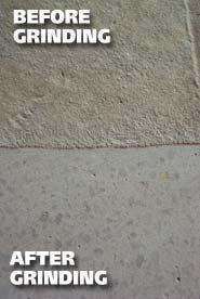 Before and after of a concrete grinding project.