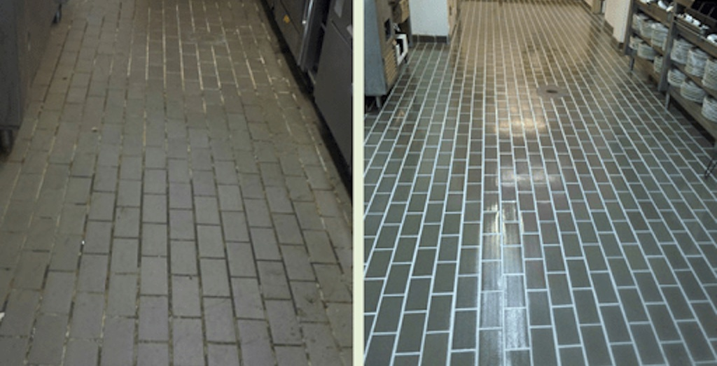 Commercial tile and grout cleaning before and after.