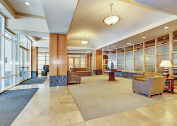 A building lobby maintained by a commercial cleaning company.