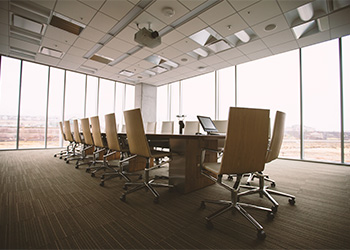 A meeting room that is professionally cleaned.